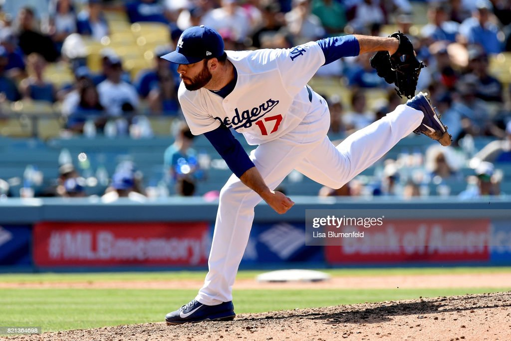 Brandon Morrow #17 of the Los Angeles Dodgers pitches in the tenth inning against the Atlanta Braves at Dodger Stadium on July 23, 2017 in Los Angeles, California.