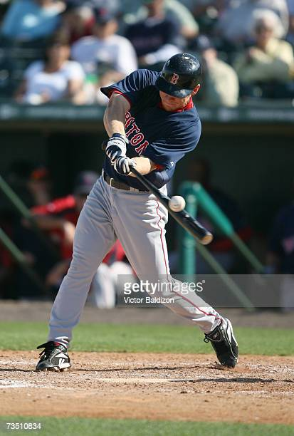 Brandon Moss of the Boston Red Sox hits against the Florida Marlins during a Spring Training game on March 6, 2007 at Roger Dean Stadium in Jupiter,...