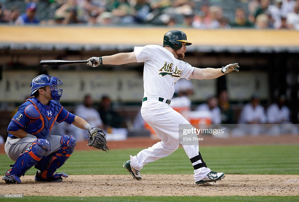 Brandon Moss #37 of the Oakland Athletics bats against the New York Mets at O.co Coliseum on August 20, 2014 in Oakland, California.