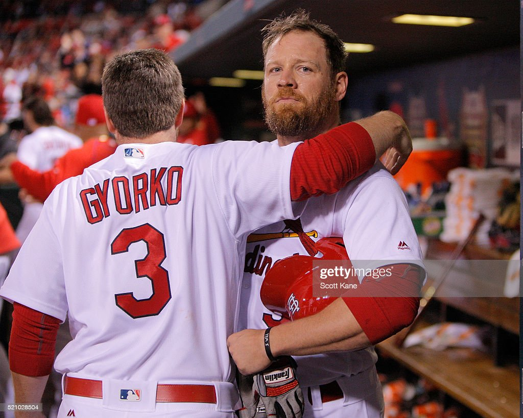 Brandon Moss #37 of the St. Louis Cardinals is congratulated by Jedd Gyorko #3 after hitting a home run during the eighth inning of a baseball game against the Milwaukee Brewers at Busch Stadium on April 13, 2016 in St. Louis, Missouri.