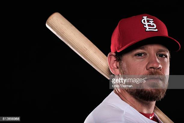 Brandon Moss of the St Louis Cardinals poses for a photograph at Spring Training photo day at Roger Dean Stadium on February 25 2016 in Jupiter...