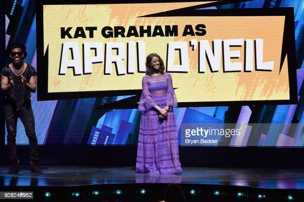 Brandon Mychal Smith and Kat Graham speak onstage at the Nickelodeon Upfront 2018 at Palace Theatre on March 6 2018 in New York City