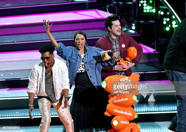Brandon Mychal Smith, Kat Graham, and Ben Schwartz speak onstage at Nickelodeon's 2018 Kids' Choice Awards at The Forum on March 24, 2018 in...
