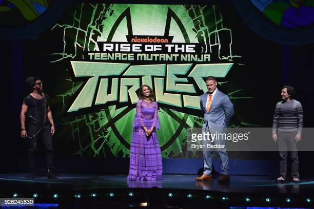 Brandon Mychal Smith Kat Graham John Cena and Josh Brener speak onstage at the Nickelodeon Upfront 2018 at Palace Theatre on March 6 2018 in New York...