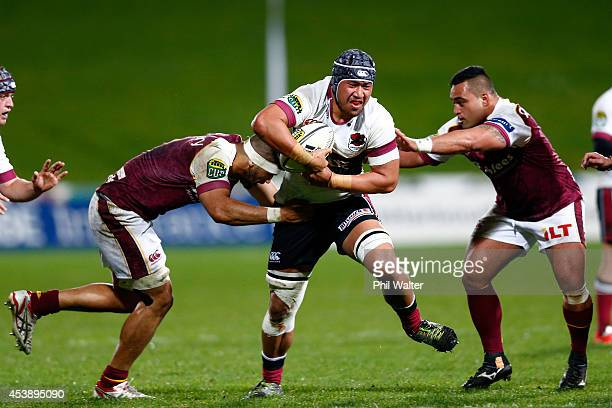 Brandon Nansen of North Harbour is tackeld during the round two ITM Cup match between North Harbour and Southland at QBE Stadium on August 21 2014 in...