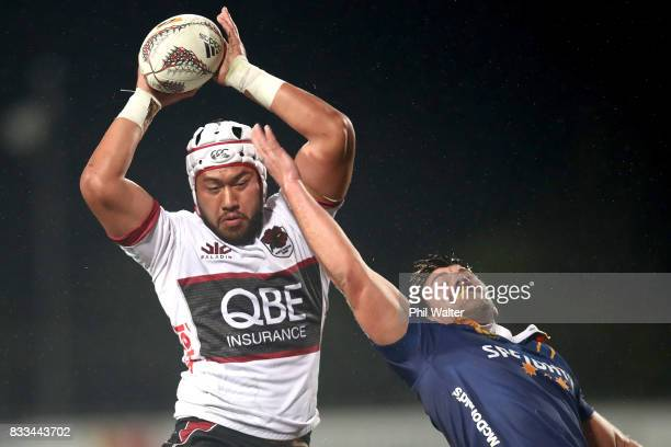 Brandon Nansen of North Harbour takes the ball in the lineout during the round one Mitre 10 Cup match between North Harbour and Otago at QBE Stadium...
