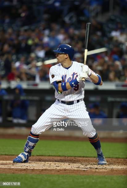 Brandon Nimmo of the New York Mets bats against the Arizona Diamondbacks during their game at Citi Field on May 18 2018 in New York City