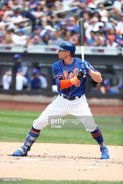 Brandon Nimmo of the New York Mets bats against the Washington Nationals during their game at Citi Field on July 15 2018 in New York City