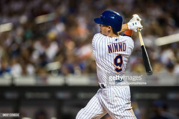 Brandon Nimmo of the New York Mets bats during the game against the Chicago Cubs at Citi Field on Friday June 1 2018 in the Queens borough of New...