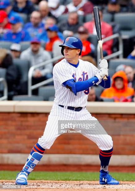 Brandon Nimmo of the New York Mets bats during the Mets home opener game of the 2018 MLB baseball season against the St Louis Cardinals on March 29...