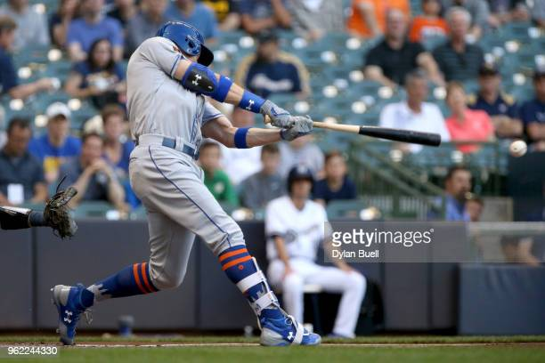 Brandon Nimmo of the New York Mets hits a double in the first inning against the Milwaukee Brewers at Miller Park on May 24 2018 in Milwaukee...