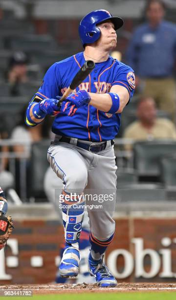 Brandon Nimmo of the New York Mets hits a home run in the third inning against the Atlanta Braves at SunTrust Field on May 28 2018 in Atlanta Georgia