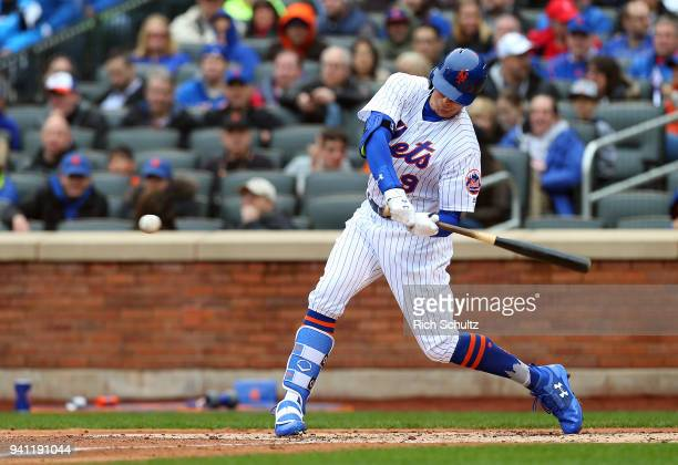 Brandon Nimmo of the New York Mets in action during a game against the St Louis Cardinals at Citi Field on March 29 2018 in the Flushing neighborhood...