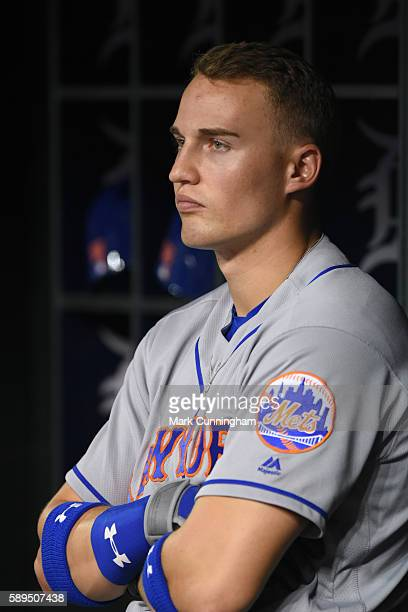 Brandon Nimmo of the New York Mets looks on from the dugout during the game against the Detroit Tigers at Comerica Park on August 5 2016 in Detroit...
