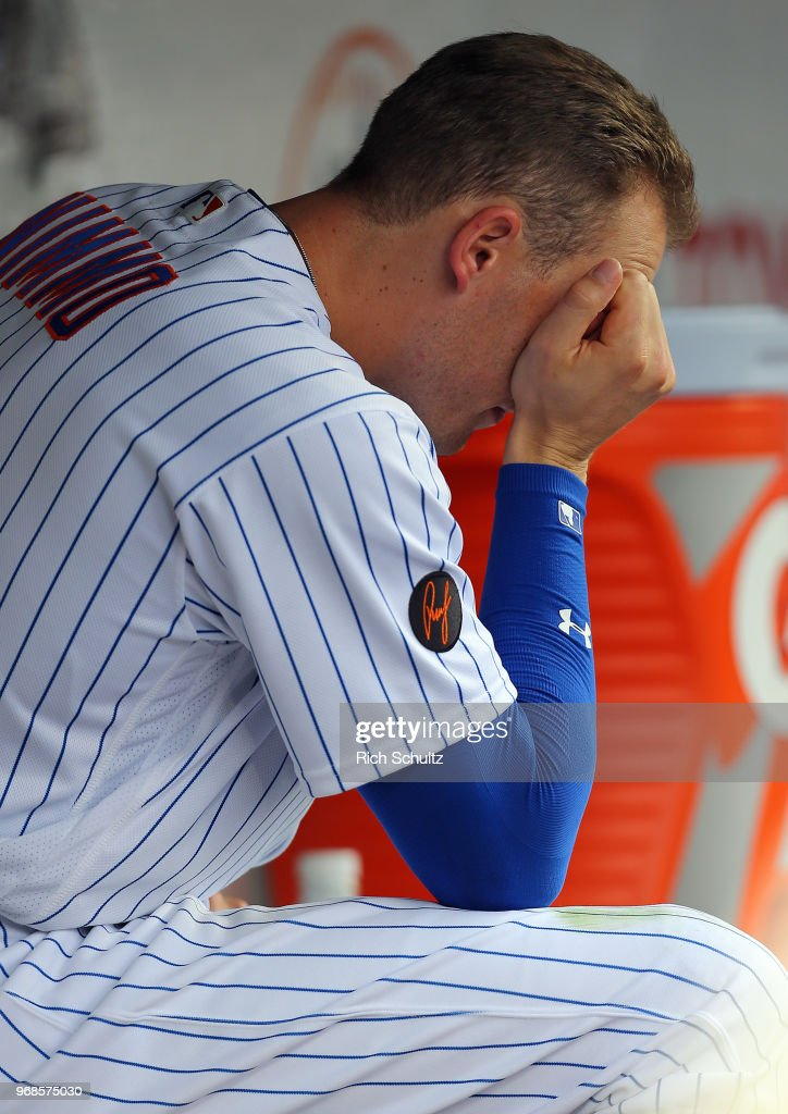 Brandon Nimmo #9 of the New York Mets reacts after losing 1-0 in a game against the Baltimore Orioles at Citi Field on June 6, 2018 in the Flushing neighborhood of the Queens borough of New York City.