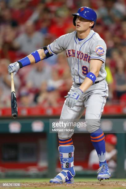 Brandon Nimmo of the New York Mets strikes out swinging in the sixth inning against the Cincinnati Reds at Great American Ball Park on May 8 2018 in...