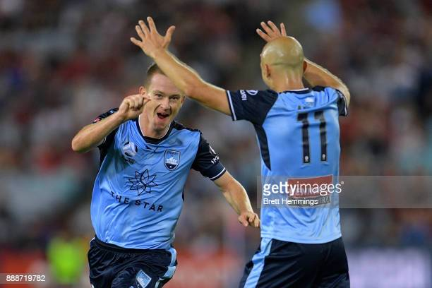 Brandon O'Neill of Sydney celebrates scoring a goal during the round 10 ALeague match between the Western Sydney Wanderers and Sydney FC at ANZ...