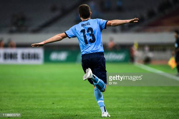 Brandon O'Neill of Sydney FC celebrates a goal during the AFC Champions League Group H match between Sydney FC and Shanghai SIPG at Shanghai Stadium...