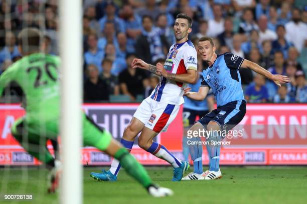 Brandon O'Neill of Sydney FC takes a shot at goal during the round 14 ALeague match between Sydney FC and the Newcastle Jets at Allianz Stadium on...