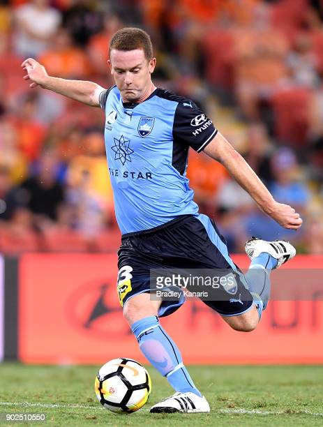 Brandon O'Neill of Sydney kicks the ball during the round 15 ALeague match between the Brisbane Roar and Sydney FC at Suncorp Stadium on January 8...