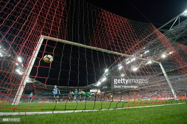 Brandon O'Neill of Sydney scores a goal during the round 10 ALeague match between the Western Sydney Wanderers and Sydney FC at ANZ Stadium on...