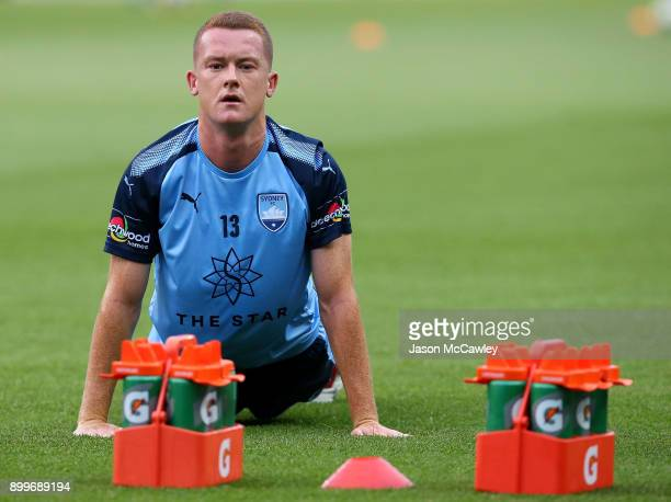 Brandon O'Neill of Sydney stretches prior to the round 13 ALeague match between Sydney FC and Perth Glory at Allianz Stadium on December 30 2017 in...