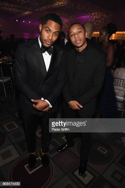 Brandon P Bell and DeRon Horton attend 49th NAACP Image Awards After Party at Pasadena Civic Auditorium on January 15 2018 in Pasadena California