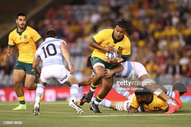 Brandon Paenga-Amosa of Australia makes a break mduring the 2020 Tri-Nations match between the Australian Wallabies and the Argentina Pumas at...