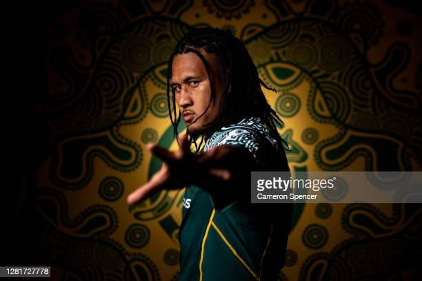 Brandon PaengaAmosa of the Wallabies poses during the Australian Wallabies 2020 First Nations Jersey portrait session on October 22 2020 in the...