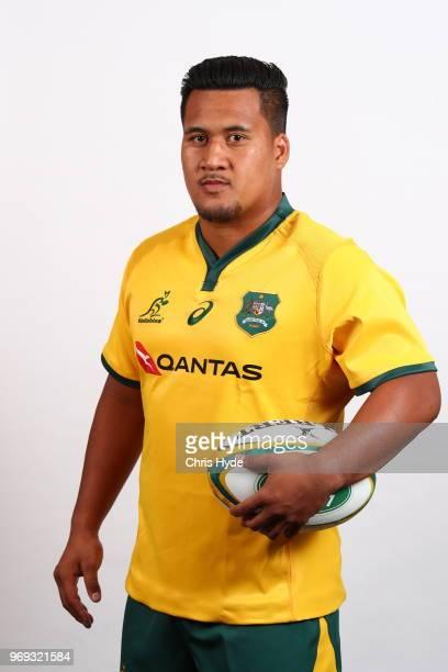Brandon PaengaAmosa poses during the Australian Wallabies headshot session on May 7 2018 in Gold Coast Australia