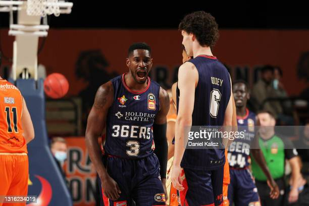 Brandon Paul of the Adelaide 36ers celebrates during the round 16 NBL match between the Adelaide 36ers and Cairns Taipans at Adelaide Entertainment...