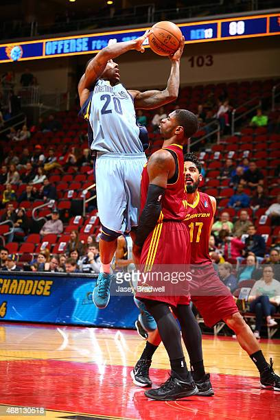 Brandon Paul of the Canton Charge defends against Marcus Hall of the Iowa Energy comes in for the shot in an NBA DLeague game on March 28 2015 at the...