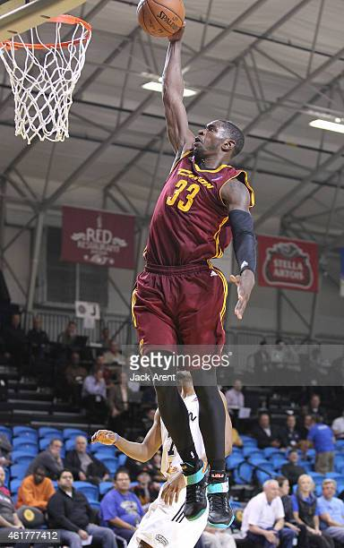 Brandon Paul of the Canton Charge dunks the ball against the Austin Spurs during the 2015 NBA DLeague Showcase presented by SAMSUNG on January 17...