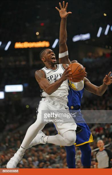 Brandon Paul of the San Antonio Spurs drives for two against the Golden State Warriors at ATT Center on November 2 2017 in San Antonio Texas NOTE TO...