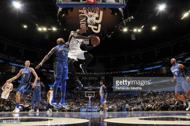 Brandon Paul of the San Antonio Spurs drives to the basket against the Orlando Magic on October 27 2017 at Amway Center in Orlando Florida NOTE TO...