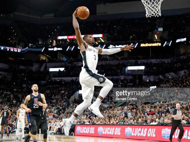 Brandon Paul of the San Antonio Spurs drives to the basket against the Los Angeles Clippers at ATT Center on December 18 2017 in San Antonio Texas...