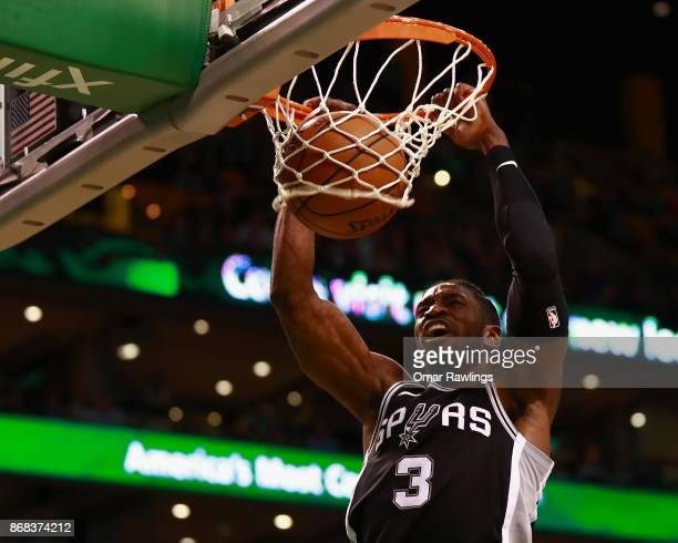 Brandon Paul of the San Antonio Spurs dunks during the second half of the game against the Boston Celtics at TD Garden on October 30 2017 in Boston...