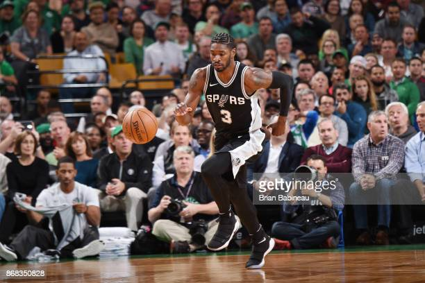 Brandon Paul of the San Antonio Spurs handles the ball against the Boston Celtics on October 30 2017 at the TD Garden in Boston Massachusetts NOTE TO...
