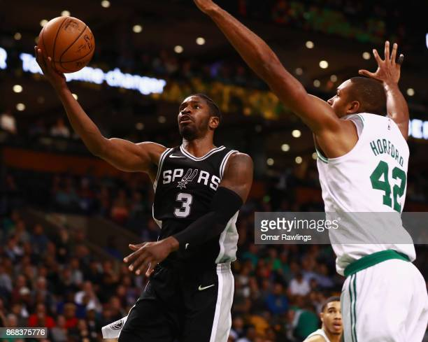 Brandon Paul of the San Antonio Spurs scores a layup during the second half of the game against the Boston Celtics at TD Garden on October 30 2017 in...