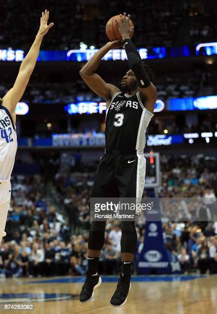 Brandon Paul of the San Antonio Spurs takes a shot against the Dallas Mavericks in the first half at American Airlines Center on November 14 2017 in...