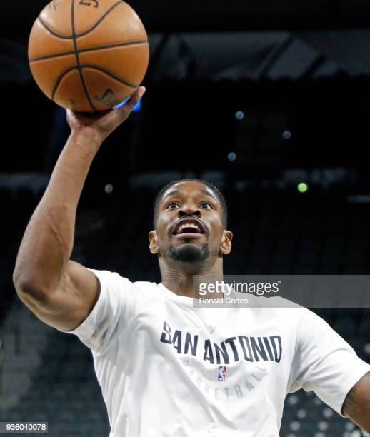 Brandon Paul of the San Antonio Spurs takes warmups shots before the start of their game against the Washington Wizards at ATT Center on March 21...