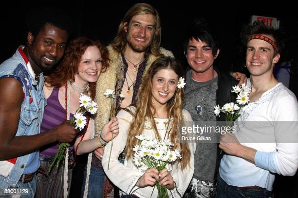 Brandon Pearson Megan Reinking Bryce Ryness Caissie Levy Adam Lambert and Gavin Creel pose backstage at the hit revival of 'Hair' on Broadway at The...