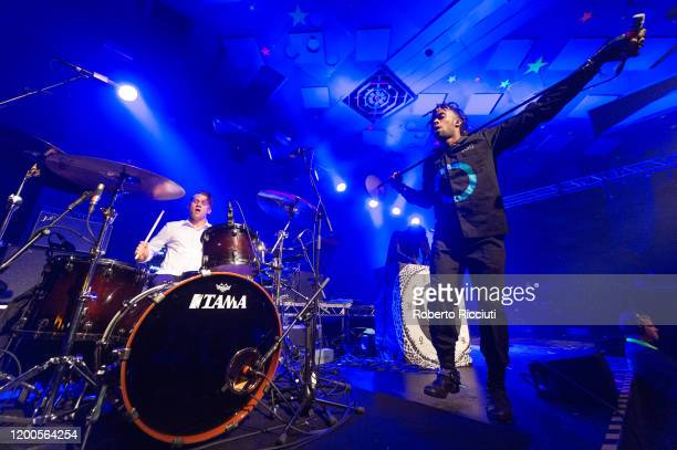 Brandon Pertzborn and Eaddy of Ho99o9 perform on stage at Barrowland Ballroom on February 13, 2020 in Glasgow, Scotland.