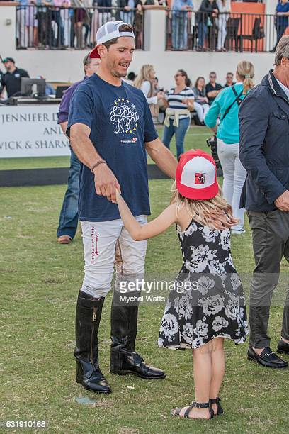 Brandon Phillips and Piper Apfel at International Polo Club Palm Beach on January 16 2017 in Wellington Florida