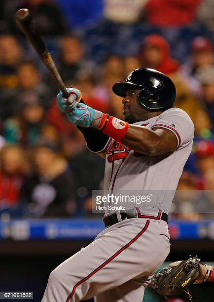 Brandon Phillips of the Atlanta Braves ties the game with a home run during the ninth inning against the Philadelphia Phillies at Citizens Bank Park...
