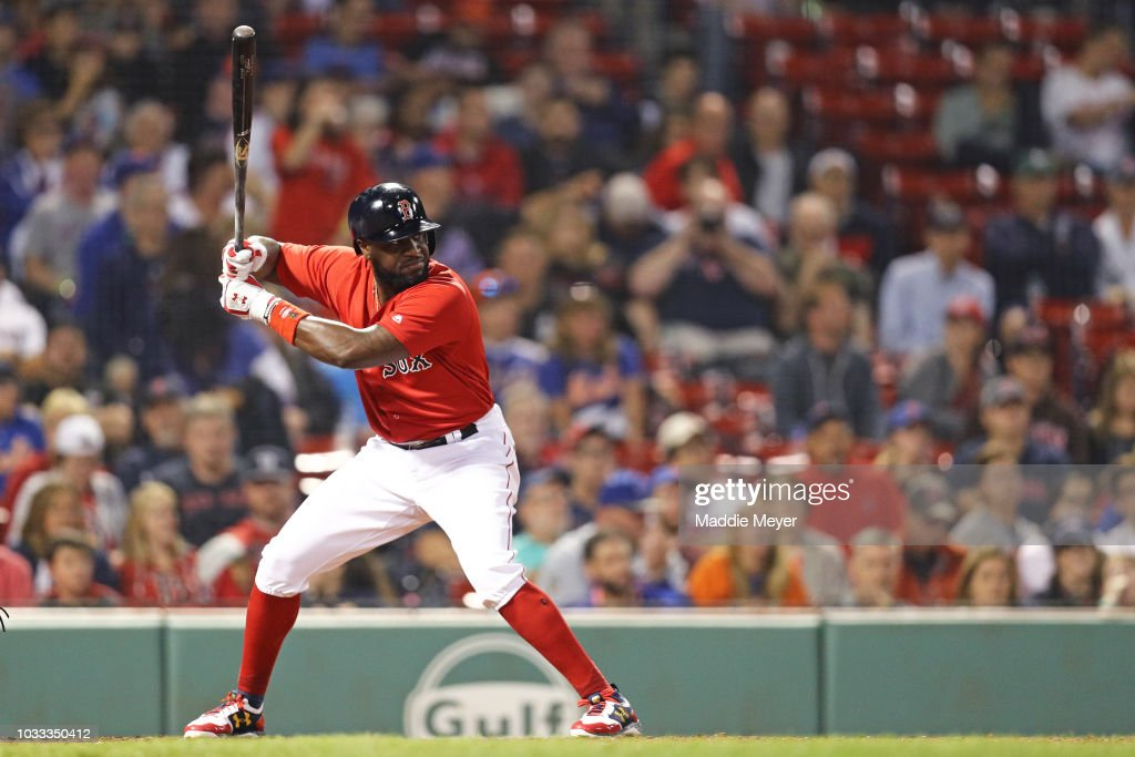 Brandon Phillips #0 of the Boston Red Sox at bat against the New York Mets during the ninth inning at Fenway Park on September 14, 2018 in Boston, Massachusetts.