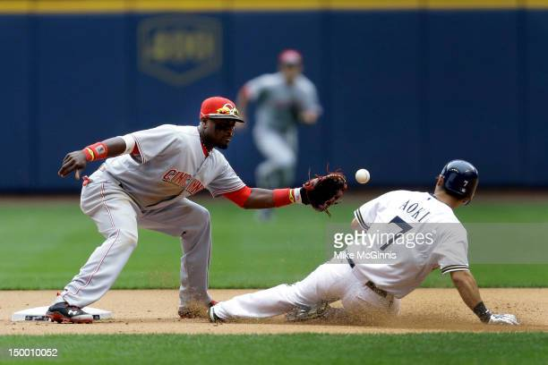Brandon Phillips of the Cincinnati Reds can't handle the throw from catcher Chris Heisey awarding Norichika Aoki of the Milwaukee Brewers a stolen...