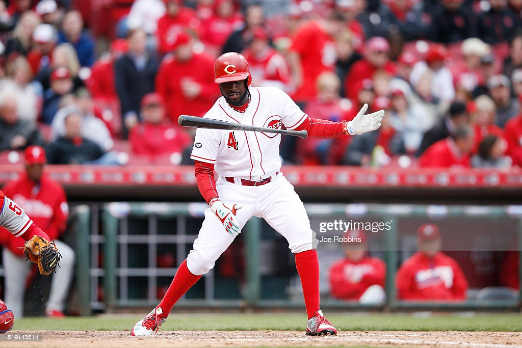 Brandon Phillips #4 of the Cincinnati Reds reacts after swinging and missing against the Philadelphia Phillies in the seventh inning of the opening day game at Great American Ball Park on April 4, 2016 in Cincinnati, Ohio. The Reds defeated the Phillies 6-2.