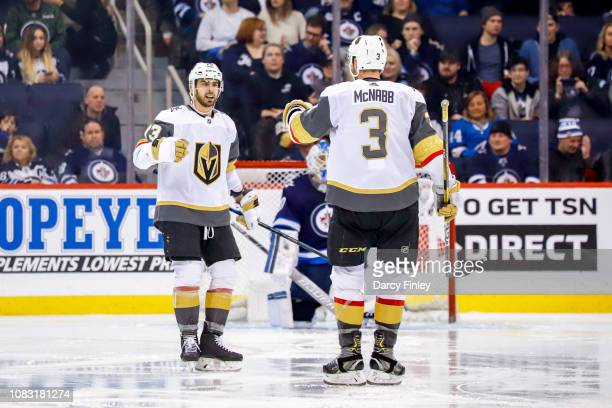 Brandon Pirri and Brayden McNabb of the Vegas Golden Knights celebrate a third period goal against the Winnipeg Jets at the Bell MTS Place on January...