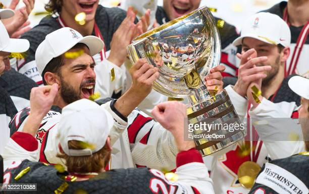 Brandon Pirri of Canada celebrates with the trophy after the 2021 IIHF Ice Hockey World Championship Gold Medal Game between Canada and Finland at...